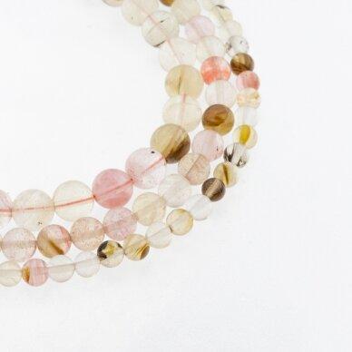 Arbūzinis kvarco stiklas, apvali forma, spalvų miksas, 37-39 cm/gija, 4, 6, 8, 10, 12 mm