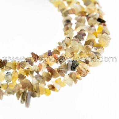 Botswana Agate, Natural, B Grade, Chip Bead, Grey-Brown, 80-83 cm/strand, about 5-8 mm