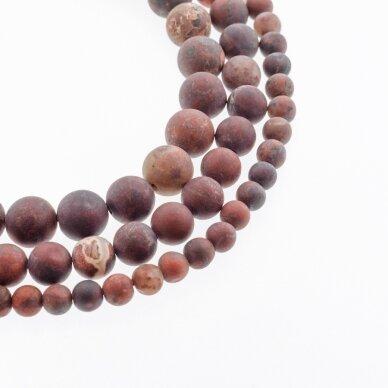 Brekčijos jaspis, natūralus, AB kokybė, matinis, apvali forma, tamsi raudona spalva, 37-39 cm/gija, 4, 6, 8, 10, 12 mm