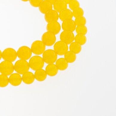 Chalcedonas, natūralus, AB kokybė, dažytas, apvali forma, geltona spalva, 37-39 cm/gija, 4, 6, 8, 10, 12 mm