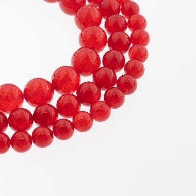 Chalcedonas, natūralus, AB kokybė, dažytas, apvali forma, karneolio raudona spalva, 37-39 cm/gija, 4, 6, 8, 10, 12 mm