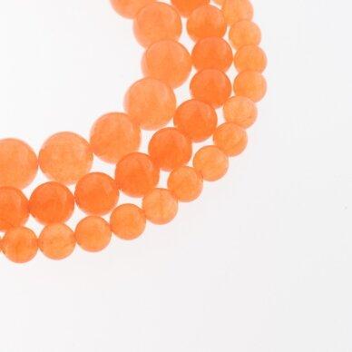 Chalcedonas, natūralus, AB kokybė, dažytas, apvali forma, oranžinė spalva, 37-39 cm/gija, 4, 6, 8, 10, 12 mm