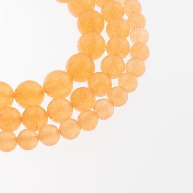Chalcedonas, natūralus, AB kokybė, dažytas, apvali forma, šviesiai oranžinė spalva, 37-39 cm/gija, 4, 6, 8, 10, 12 mm