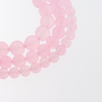 Chalcedonas, natūralus, AB kokybė, dažytas, apvali forma, šviesiai rožinė spalva, 37-39 cm/gija, 4, 6, 8, 10, 12 mm
