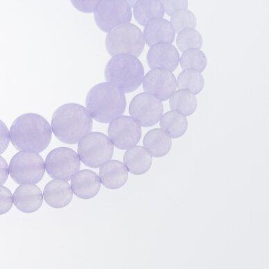 Chalcedonas, natūralus, AB kokybė, dažytas, apvali forma, šviesiai violetinė spalva, 37-39 cm/gija, 4, 6, 8, 10, 12 mm