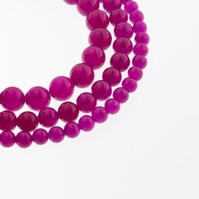 Chalcedonas, natūralus, AB kokybė, dažytas, apvali forma, tamsiai purpurinė spalva, 37-39 cm/gija, 4, 6, 8, 10, 12 mm