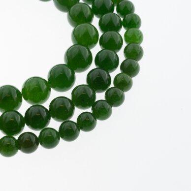 Chalcedonas, natūralus, AB kokybė, dažytas, apvali forma, tamsiai žalia spalva, 37-39 cm/gija, 4, 6, 8, 10, 12 mm