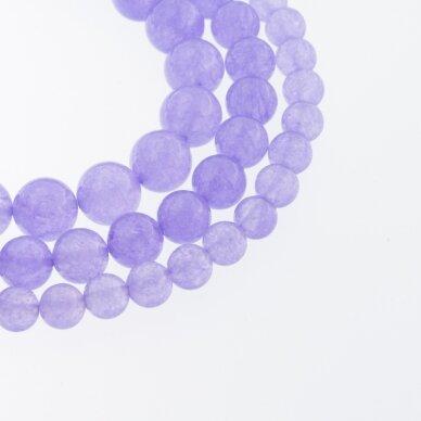 Chalcedonas, natūralus, AB kokybė, dažytas, apvali forma, violetinė spalva, 37-39 cm/gija, 4, 6, 8, 10, 12 mm