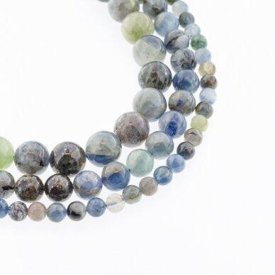 Daugiaspalvis kianitas, natūralus, B kokybė, stabilizuotas, apvali forma, mėlyna spalva, 37-39 cm/gija, 4, 6, 8, 10, 12 mm