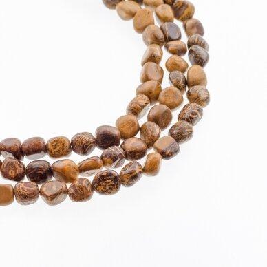Dramblio odos jaspis / kaligrafijos akmuo, natūralus, gabaliuko forma, ruda spalva, 37-39 cm/gija, apie 6x8-8x10 mm