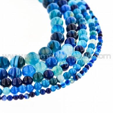 Dryžuotas agatas, natūralus, A kokybė, dažytas, apvali forma, mėlyna spalva, 37-39 cm/gija, 4, 6, 8, 10, 12, 14 mm
