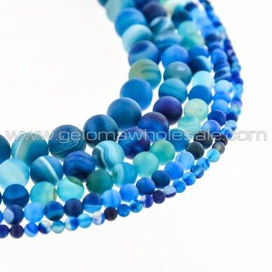 Dryžuotas agatas, natūralus, A kokybė, dažytas, matinis, apvali forma, mėlyna spalva, 37-39 cm/gija, 4, 6, 8, 10, 12, 14 mm
