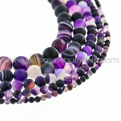 Dryžuotas agatas, natūralus, A kokybė, dažytas, matinis, apvali forma, violetinė spalva, 37-39 cm/gija, 4, 6, 8, 10, 12, 14 mm