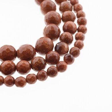 Dykumos smėlis, sintetinis, AB kokybė, briaunuotas, apvali forma, ruda spalva, 37-39 cm/gija, 4, 6, 8, 10, 12, 14 mm