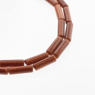 Dykumos smėlis, sintetinis, AB kokybė, vamzdžio forma, ruda spalva, 37-39 cm/gija, 4x13 mm