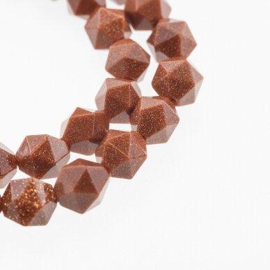 Dykumos smėlis, sintetinis, AB kokybė, žvaigždėtas briaunavimas, apvali forma, ruda spalva, 37-39 cm/gija, 8, 10 mm
