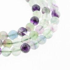 Fluoritas, natūralus, AB kokybė, apvali forma, žaliai violetinė spalva, 37-39 cm/gija, 6, 8, 10, 12 mm