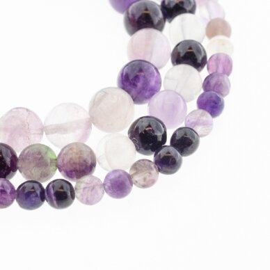 Fluoritas, natūralus, B kokybė, apvali forma, violetinė spalva, 37-39 cm/gija, 4, 6, 8, 10, 12 mm