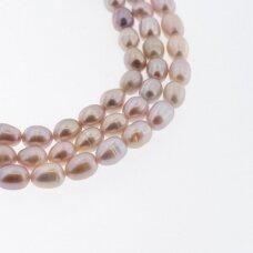 Gėlavandeniai perlai, kultivuoti, BC kokybė, ryžio forma, violetinė spalva, 35-36 cm/gija, apie 6-7, 7-8 mm