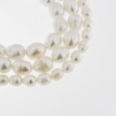 Freshwater Pearl, Cultured, C Grade, Rice Bead, White, 35-36 cm/strand, about 6-7, 8-9, 9-10, 11-12 mm