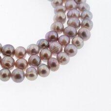 Gėlavandeniai perlai, kultivuoti, CD kokybė, pusiau apvali forma, violetinė spalva, 35-36 cm/gija, apie 8-9, 9-10 mm