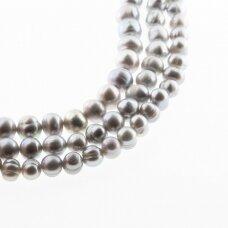 Gėlavandeniai perlai, kultivuoti, D kokybė, pusiau apvali forma, pilka spalva (dažyti), 35-36 cm/gija, apie 7-8, 8-9, 9-10 mm