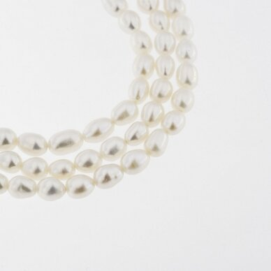 Freshwater Pearl, Cultured, B+ Grade, Rice Bead, White, 35-36 cm/strand, about 4-5 mm