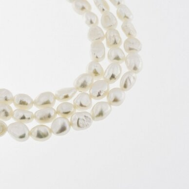Freshwater Pearl, Cultured, C Grade, Long-drilled Potato Bead, White, 35-36 cm/strand, about 4-5, 5-6 mm