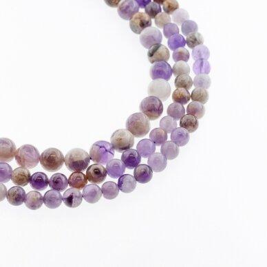 Gėlėtasis ametistas, natūralus, AB kokybė, apvali forma, rudai violetinė spalva, 37-39 cm/gija, 4, 6, 8, 10, 12, 14, 16 mm