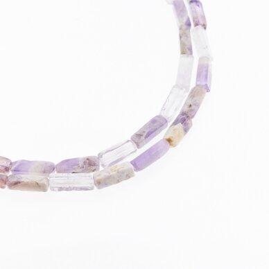 Gėlėtasis ametistas, natūralus, AB kokybė, kvadratinio vamzdžio forma, rudai violetinė spalva, 37-39 cm/gija, 4x13 mm