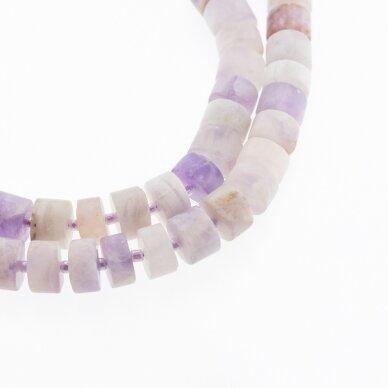 Gėlėtasis ametistas, natūralus, B kokybė, matinis, rankiniu būdu apipjaustyta heishi rondelės forma, rudai violetinė spalva, 37-39 cm/gija, apie 12x6 mm
