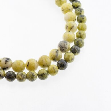 Geltonas turkis (serpentinas ir kvarcas), natūralus, B kokybė, apvali forma, 37-39 cm/gija, 4, 6, 8, 10, 12 mm