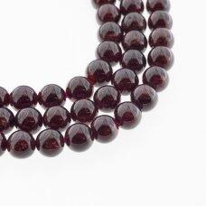 Granatas, natūralus, B kokybė, apvali forma, tamsiai raudona spalva, 37-39 cm/gija, 8 mm