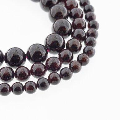 Granatas, natūralus, CC kokybė, apvali forma, tamsiai raudona spalva, 37-39 cm/gija, 4, 6, 7, 8, 9, 10, 11, 12 mm