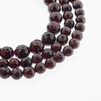 Granatas, natūralus, D kokybė, briaunuotas, apvali forma, tamsiai raudona spalva, 37-39 cm/gija, 4, 5, 6, 7, 8, 10, 12 mm