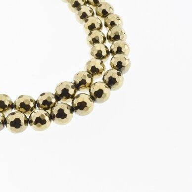 Hematitas, regeneruotas, 96-briaunuotas, apvali forma, Chaki aukso spalva, 39-40 cm/gija, 6, 8, 10, 12, 14 mm