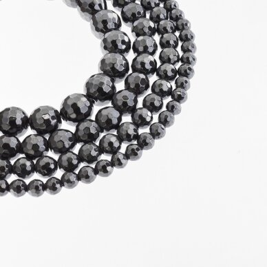 Hematitas, regeneruotas, 96-briaunuotas, apvali forma, juoda spalva, 39-40 cm/gija, 6, 8, 10, 12, 14 mm