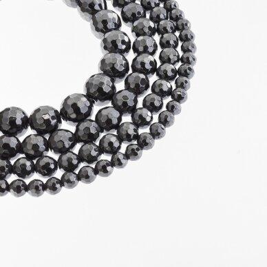 Hematite, Reconstituted, 96-Faceted Round Bead, Black, 39-40 cm/strand, 6 mm