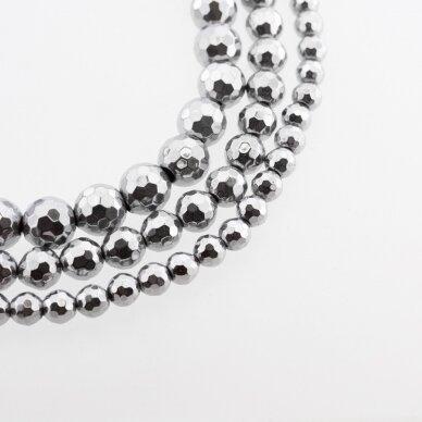 Hematite, Reconstituted, 96-Faceted Round Bead, Nickel Grey, 39-40 cm/strand, 6, 8, 10, 12, 14 mm