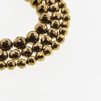 Hematite, Reconstituted, 96-Faceted Round Bead, Brown, 39-40 cm/strand, 6 mm