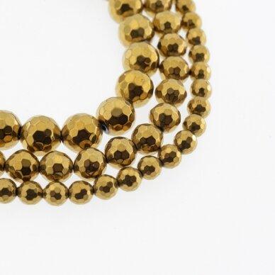 Hematitas, regeneruotas, 96-briaunuotas, apvali forma, tamsaus aukso spalva, 39-40 cm/gija, 6 mm