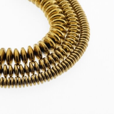 Hematitas, regeneruotas, abacus rondelės forma, tamsaus aukso spalva, 39-40 cm/gija, 3x2 mm