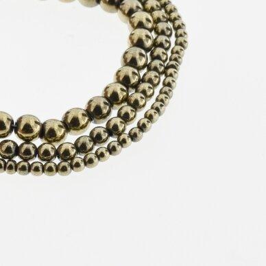 Hematite, Reconstituted, Round Bead, Khaki Gold, 39-40 cm/strand, 1.5, 2, 3, 4, 5, 6, 8, 10, 12, 14, 16, 18, 20 mm