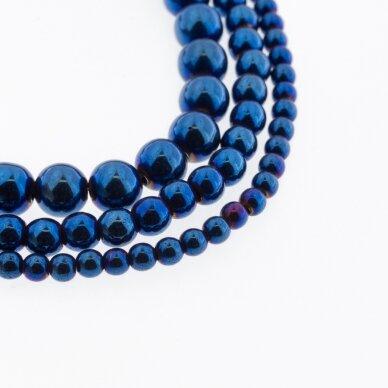 Hematitas, regeneruotas, apvali forma, mėlyna spalva, 39-40 cm/gija, 1.5 mm