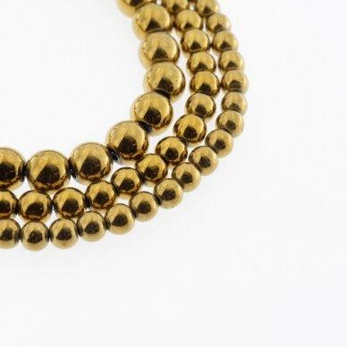 Hematitas, regeneruotas, apvali forma, tamsaus aukso spalva, 39-40 cm/gija, 1.5 mm