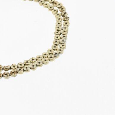 Hematitas, regeneruotas, banguota rondelės forma, du gręžimo būdai, Chaki aukso spalva, 39-40 cm/gija, 4x2 mm
