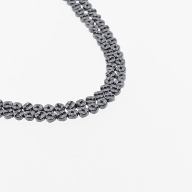 Hematite, Reconstituted, Waved Rondelle Bead, Two Ways Drilled, Black, 39-40 cm/strand, 4x2 mm