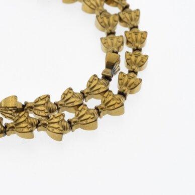 Hematitas, regeneruotas, bitės forma, tamsaus aukso spalva, 39-40 cm/gija,  8x10 mm