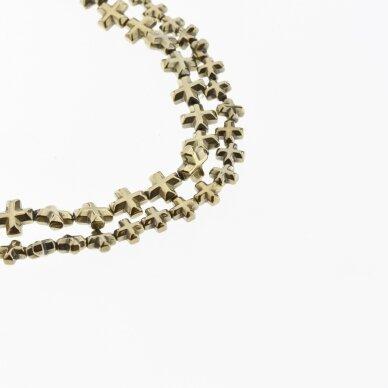 Hematitas, regeneruotas, briaunotas kryželio forma, Chaki aukso spalva, 39-40 cm/gija, 6x6, 8x8 mm