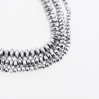Hematite, Reconstituted, Faceted Abacus Rondelle Bead, Nickel Grey, 39-40 cm/strand, 3x2, 4x2, 4x3, 6x3, 6x4, 8x3, 8x6, 10x3, 10x6 mm